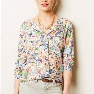 Maeve Anthropologie Cartography Blouse Size 4